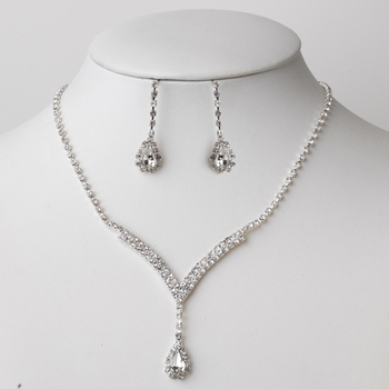 Silver Clear Rhinestone Jewelry Set 48051***Discontinued***