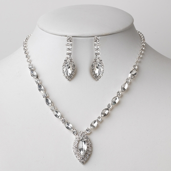 Silver Clear Rhinestone Jewelry Set 48052