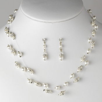 Pearl & Rhinestone Necklace & Earrings Illusion Jewelry Set 8366