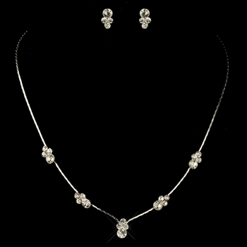 * Necklace Earring Set 117 Silver Clear