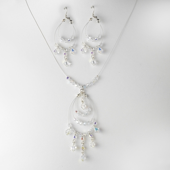 Necklace Earring Set 8153 Silver AB