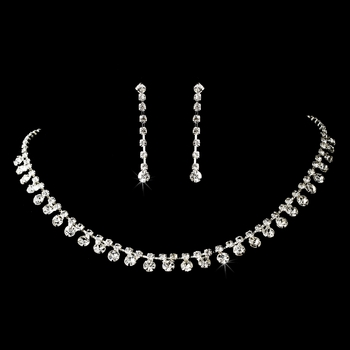 * Necklace Earring Set 833 Silver Clear