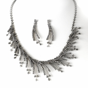 Necklace Earring Set NE 8278 Silver Black