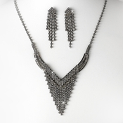 Necklace Earring Set NE 8281 Silver Black