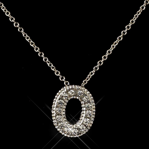 """""""O"""" Clear Rhinestone Letter Initial Pendant Necklace 1"""