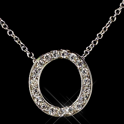 """""""O"""" Sterling Silver CZ Crystal Initial Necklace 4407"""