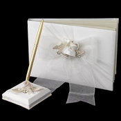 Organza Bow & Rose Guest Book & Pen Set 796