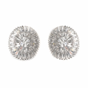 Oval Round Rhodium Clear CZ Crystal Bagquette Stud Bridal Wedding Earrings ***0 Left***