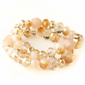 Peach Faceted Glass Stretch Bracelet 9507