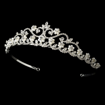 Pearl and Rhinestone Bridal Tiara HP 2031