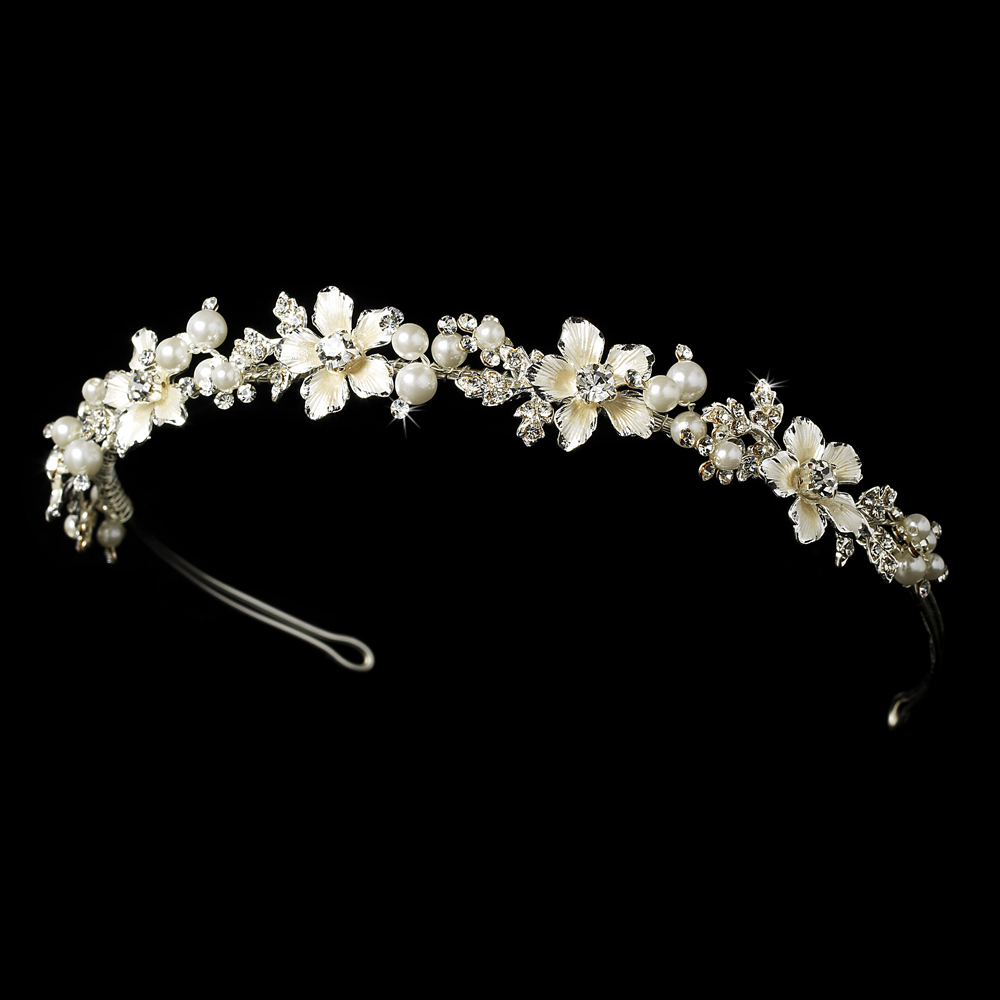 Pearl   Crystal Bridal Headband Tiara HP 7352  Flowers are Silver not  Champagne    d0df1348fec
