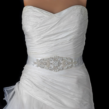 Pearl Rhinestone Beaded Bridal Belt 313