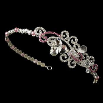 Pink Crystal Bridal Tiara Headband with Side Ornament HP 8101