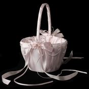 Pink Lace Ribbon & Sheer Organza Flower girl Basket w/ Rhinestone & Pearl Accents
