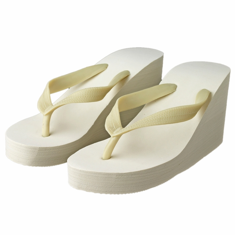 0f49a331bdde Plain High Wedge Bridal Flip Flops (Ivory or White)