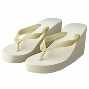 Plain High Wedge Bridal Flip Flops (Ivory or White)