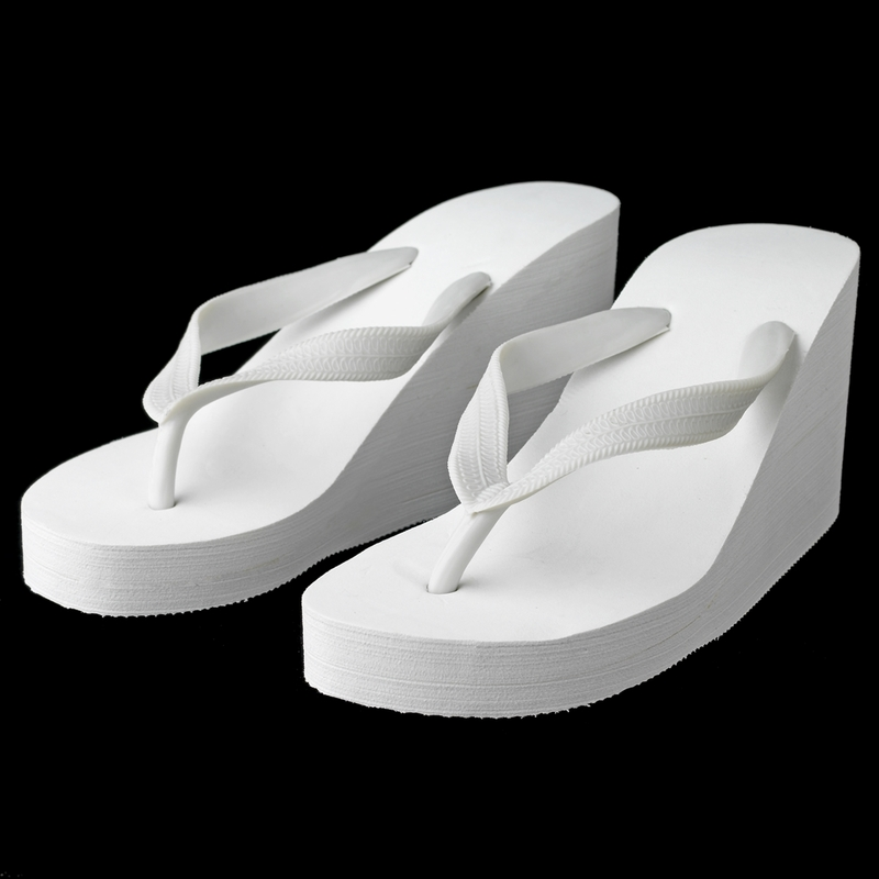 50c525403cc2 Plain High Wedge Bridal Flip Flops (Ivory or White)