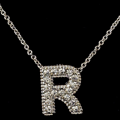 """""""R"""" Clear Rhinestone Letter Initial Pendant Necklace 1"""