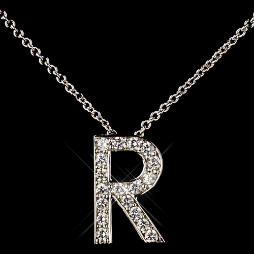 """R"" Sterling Silver CZ Crystal Initial Necklace 4407"