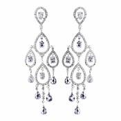 Radiant Silver Clear CZ Chandelier Earrings 8627