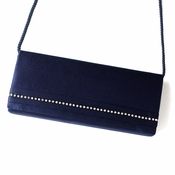 Ravishing Navy Satin Clear Rhinestone Evening Bag 210