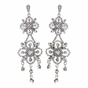 Ravishing Silver Clear Crystal Chandelier Earrings 8588