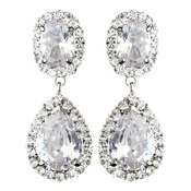 Ravishing Silver Clear CZ Clip On Earrings 8483
