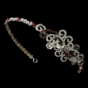 Red Crystal Bridal Tiara with Side Ornamentation HP 8101