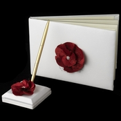 Red Flower Guest Book & Pen Set 804