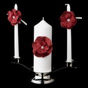 Red Flower Unity Candle Set 804