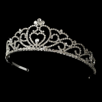 Regal Rhinestone Heart Princess Tiara in Silver with Heart Accent 516