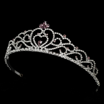 Regal Rhinestone Heart Princess Tiara in Silver with Light Amethyst Accents 516