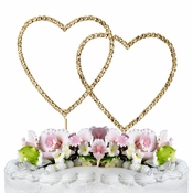 Renaissance ~ Swarovski Crystal Wedding Cake Topper ~ Double Gold Heart