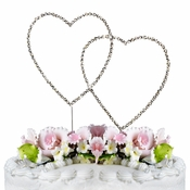 Renaissance ~ Swarovski Crystal Wedding Cake Topper ~ Double Silver Heart