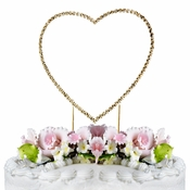 Renaissance ~ Swarovski Crystal Wedding Cake Topper ~ Single Gold Heart