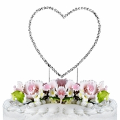 Renaissance ~ Swarovski Crystal Wedding Cake Topper ~ Single Silver Heart