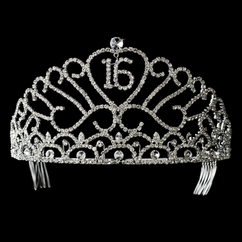 Rhinestone Adorn Sweet 15 or Sweet 16 Tiara  Headpiece 209