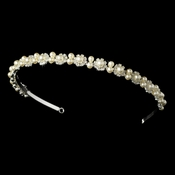 Rhinestone and Ivory Pearl Wedding Floral Headband HP 858