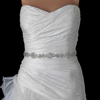 Sheer Diamond White Rhinestone Beaded Bridal Sheer Applique ( No Belt ) * 1 Left *