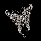 Rhinestone Butterfly Brooch 74 Antique Silver Clear Rhinestones