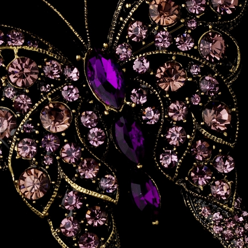 * Rhinestone Butterfly Brooch 74 Gold Amethyst***Discontinued***
