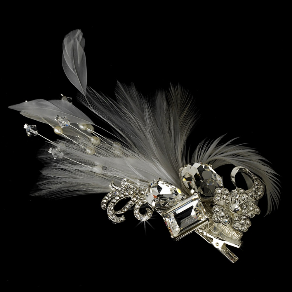 Rhinestone Floral Galore Bridal Feather Hair Brooch   Feather Fascinator  Hair Clip Silver Ivory   White 8bf15f3854b