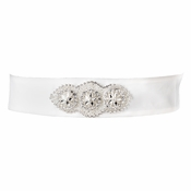 * Rhinestone & Glass Bead Sash Satin Belt 293