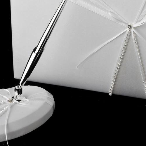 Rhinestone Ribbon Guestbook & Pen Set