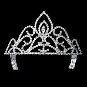 Rhinestone Covered Princess Peak Tiara in Silver 285***Discontinued***