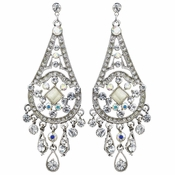 Rhodium AB & Clear Rhinestone Chandelier Earrings 957