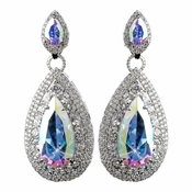 Rhodium AB Teardrop CZ Drop Earrings