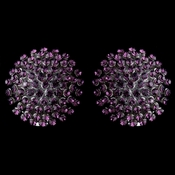 Rhodium Amethyst Clip On Ball Earrings 82016