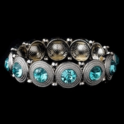 Rhodium Aqua Round Rhinestone Stretch Bridal Wedding Bracelet 2222