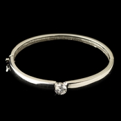 Rhodium Bangle w/ CZ Crystal Center Bracelet 9746